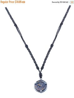 SALE Braided Black Leather Ancient Coin Necklace - Ephesus Deer - Sterling Silver