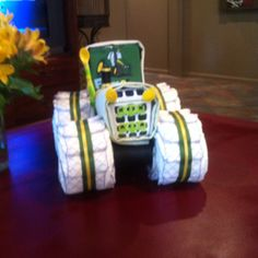 John Deere tractor diaper cake! Made by Miss Lana Fisher :-)