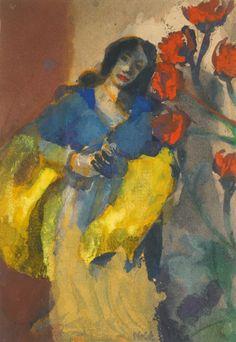 Emil Nolde (1867-1956) Junge Frau mit gelber Stola und roten Blüten (1916-1918) gouache and watercolour on paper, 23.2 x 16.7 cm