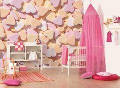 Leuk behang voor de #meisjeskamer met hartjessnoepjes | #Wallpaper with sweeties for the girl's #kidsroom