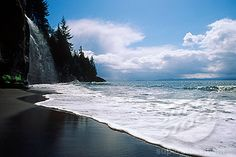 West Coast Road, Mystic Beach Waterfall, Vancouver Island, British Columbia, Canada