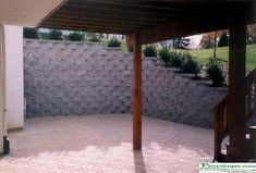 Under Deck Storage Design Photo Gallery --> Residential/Commercial Retaining Walls, Patio Walls . Wood Retaining Wall, Retaining Wall Design, Landscaping Retaining Walls, Hillside Landscaping, Patio Sous-sol, Concrete Paver Patio, Patio Wall, Backyard, Walkout Basement Patio