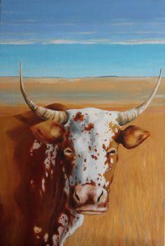 Nguni cow, oil painting, C. Paton-Ash.