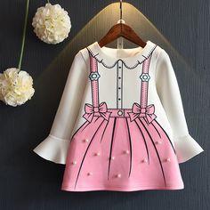 2017 Girls Bell Sleeve Beading Cute Party Dress Bows Print Sweet Cartoon Holiday Spring Dresses #girls #dress #everweekend