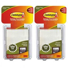 24ct Command 3M Picture Hanging Strip Sets – 8 Med, 16 Large