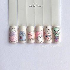 Nail Art Designs, Acrylic Nail Designs, Acrylic Nails, Nails Design, French Nails, Nail Art Disney, Kawaii Nails, Cat Nails, Sparkle Nails