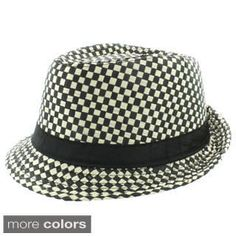 e3e40389ba208 Shop for Faddism Men s Fashion Checkered Fedora Hat. Free Shipping on orders  over  45 at Overstock.com - Your Online Accessories Outlet Store!