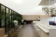 The Birdcage marquees at the Melbourne Cup Carnival are carefully orchestrated interiors for the theatre of social exchange. & A Losberger clearspan rental tent with solid glass walls an ...