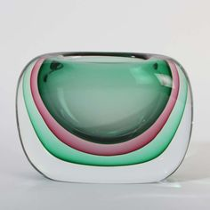 Onesto Oball signed  Murano glass vase sommerso solid clear green and pink  Discover us: http://stores.ebay.com/design-and-arts
