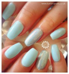 A beautiful blue Gelish over acrylics with glitter signature nail by Kerrie   www.karismanails.co.uk  #alittlebitofzhuzh