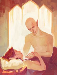 "lyrroht: ""commission. Solas and Scarlet Lavellan """