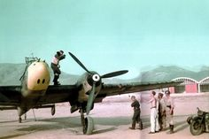 bf 110 parked mediterranean airfield color recon unit