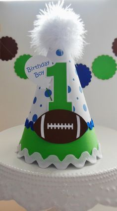 Football Birthday Party Hat Personalized by SandysSpecialtyShop Birthday Party Hats, Man Birthday, Birthday Ideas, Football First Birthday, Soccer Party, Party Entertainment, Blue Polka Dots, Party Themes, Party Ideas