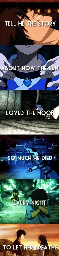 Dis moi l'histoire de la façon dont le soleil aimait tant la lune qu'il mourut tous les soirs pour la laisser respirer