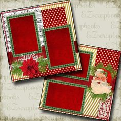 SANTA - Christmas - 2 Premade Scrapbook Pages - EZ Layout 638 scrapbookalbums Scrapbook Disney, Album Scrapbook, Paper Bag Scrapbook, Scrapbook Sketches, Scrapbook Page Layouts, Scrapbook Supplies, Friend Scrapbook, Birthday Scrapbook Layouts, Scrapbook Examples