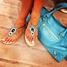 Welcome Summer! Bejeweled shoes and the perfect matching bag.