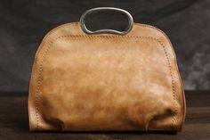 Leabags Nashville Borsa a tracolla in vera pelle di bufalo-in look vintage