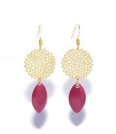 Boucles d'oreilles dorées sequin émaillés framboise et Bracelets, Creations, Drop Earrings, Boutique, Etsy, Artisans, Jewelry, Facebook, Gold Flowers