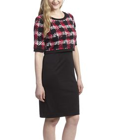 Black & Red Plaid Layered Sheath Dress by Shelby & Palmer #zulily #zulilyfinds