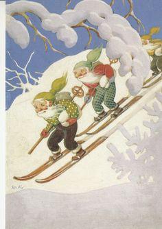 Rudolf Koivu  -Tontut laskee mäestä. - Huuto.net Vintage Christmas Cards, Vintage Cards, Baumgarten, Winter Art Projects, Books For Moms, Class Pictures, Scandinavian Christmas, Christmas Pictures, Book Illustration