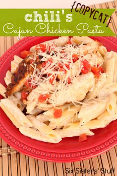Copycat Chilis Cajun Chicken Pasta from SixSistersStuff.com.  Tastes just like it came from the restaurant! #recipes #chicken #pasta #copycat
