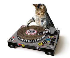 El rascador para gatos más original, hecho de cartón con forma de tocadiscos Mira como tu gato mezcla los últimos éxitos en lugar de destrozar el sofá con sus uñas ;)