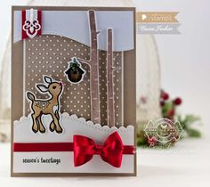 Christmas Card Making Ideas by Becca Feeken using Waltzingmouse Little Deers and Spellbinders A2 Curved Borders One - www.amazingpapergrace.com