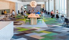 The new office space for Cisco Meraki in San Francisco is a tactile home for a digital company. The flooring is a 1350 square meter big combination of tiles in BKB Plain White, Sisal Plain Beige and Sisal Plain Creme*, Botanic Osier and Ivy, Artisan Coal and Slate, Graphic String and Draw, Spektra Aurora*, Non*, Halo* and Umov*. The mixed flooring is delicately combined with panels in raw wood and design furniture for a contemporary look with a graphic feeling of nature inside.