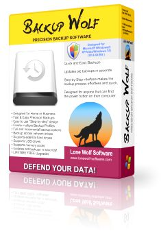 Backup Wolf Precision Backup Software allows you to easily find & backup the important files and data on your computer so that you will never lose a single byte of data!  It's simple to use Step-by-Step Interface guides you through the backup process quickly and efficiently so that you will no longer avoid or procrastinate backing up your data.