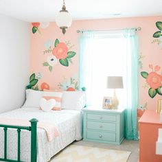 Design Loves Detail (House of Turquoise) I thought this perfectly sweet girl's room by Mollie of Design Loves Detail was a great way to kick off Valentine's Day weekend! Isn't the gorgeous floral wall a total showstopper? She wanted to use Modern Girls Rooms, Teenage Girl Bedrooms, Little Girl Rooms, Bedroom Girls, Childrens Bedroom, Cozy Bedroom, Girl Bedroom Paint, Girls Flower Bedroom, Girls Bedroom Decorating