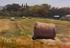 daily painting titled Hay bales - click for enlargement
