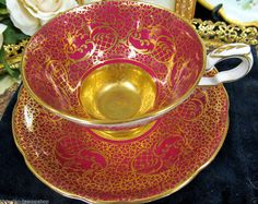 ROYAL STAFFORD  TEA CUP AND SAUCER RED & GOLD PATTERN ETCHED TEACUP FLORAL