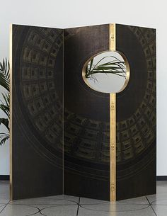 ANALOGIA PROJECT Where the rain stops 2015 Wood brass hand painted wallpaper. Wallpaper realized in collaboration with Fabscarte. 210 x 45 x H 190 cm. Limited edition of n Camp Commission 2015 Italy (Photo Credit Jeremias Morandell) Metal Room Divider, Room Divider Headboard, Room Divider Bookcase, Bamboo Room Divider, Room Divider Walls, Living Room Divider, Room Divider Screen, Diy Room Divider, Divider Cabinet
