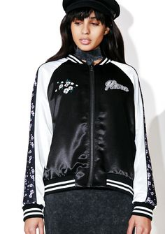 """Nana Judy Time After Time Bomber Jacket yew just keep provin' that yer the best, babe. Let 'em know with this bomber jacket that features a satiny navy blue construction, floral stripes down the sleeves, and """"Time After Time"""" text on the back."""
