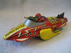 1939 Vintage Marx Flash Gordon Rocket Fighter Tin Toy Spaceship Windup Classic