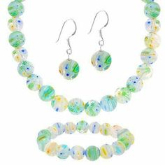 Sterling Silver Murano Glass Green, Yellow ,Blue, and White Beaded Millefiori Bracelet Earrings and Necklace Jewelry Set SilverSpeck.com. $29.99