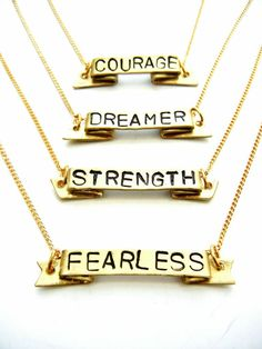 POSITIVE MANTRA NECKLACE by Release Me Creations // courage, dreamer, strength, fearless #wearabledesign
