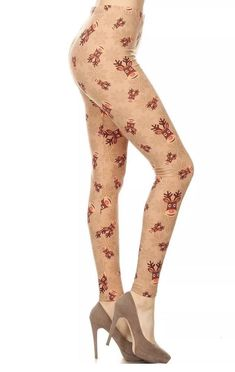 3fee1899f60 Christmas Reindeer and Snowflake with brown buttery soft leggings. The  Reindeer s are so pretty. Sizing  Plus size leggings have an elastic waist  band and a ...
