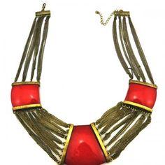 Retro Faux Gemstone Decor Chain Link Necklace