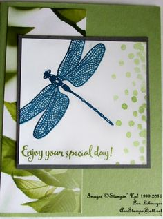Here's my card for FMS #268.  I used the new Occasions stamp set Dragonfly Dreams, and Serene Scenery DSP.   Here's the  link  back to FMS...