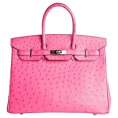 Preowned Hermes Birkin Bag 35cm Ostrich Leather Pink Fuschia Janefinds ($33,900) ❤ liked on Polyvore featuring accessories, tech accessories, pink and hermès