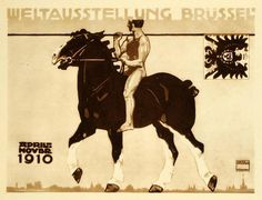"""Weltausstellung Br�ssel"" This is an original 1926 photogravure of an advertising poster by Ludwig Hohlwein for the Brussels World Fair, April-November 1910. Pe"