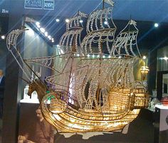 crystal bead ship chandelier; Leta Austin Foster Boutique