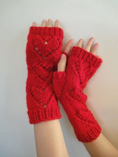 Red Hearts Fingerless Gloves Arm Warmers by VividBear on Etsy, $25.00
