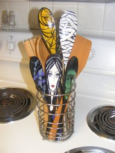 Hand Painted Wooden Spoons for Halloween!