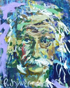 "Albert Einstein Painting, mixed media on gallery wrap canvas, measures 20"" x 16"". Loose, colorful and painterly style."
