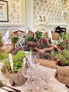 Allotment themed Wedding table decorations and homegrown herbs; artichokes, herbs, air plants