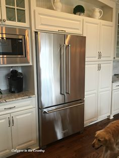 New Kitchen Aid French Door Counter Depth Refrigerator. Love the style but with ice maker Kitchen Doors, Kitchen Redo, Kitchen And Bath, New Kitchen, Kitchen Remodel, Kitchen Design, Kitchen Appliances, Kitchen Ideas, Slate Appliances
