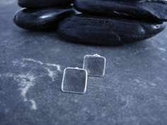Items similar to Small Square Silver Stud Earrings on Etsy Stud Earrings, Silver, Etsy, Earrings, Money, Stud Earring