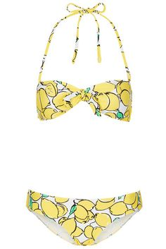 You'll be smiling from ear to ear in this Topshop yellow lemon bandeau bikini. Did someone say pool time? #summer #style #wishlist